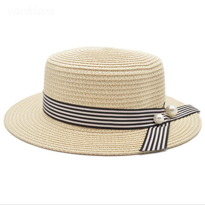 5a1d9b9c397 Flat Top Straw Hat Spring Summer Women Trip Caps Leisure Beach Sun Hats  pearl Breathable Fashion Ribbon Bow
