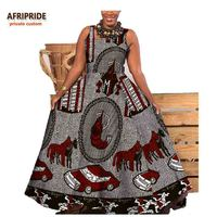 2017 Fall Long African Dress For Women AFRIPRIDE Private Custom Sleeveless Ankle Length Pleated Dress 100