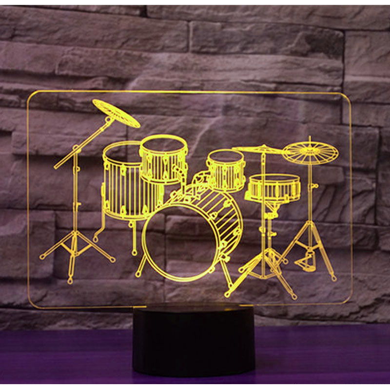 3D LED Night Light Drum Kit Set with 7 Colors Light for Home Decoration Lamp Amazing Visualization Optical Illusion Awesome