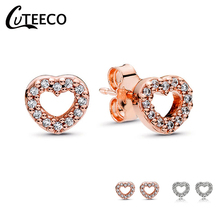 CUTEECO 2019 New Zircon Heart Stud Earrings for Women Rose Gold Silver Color Crystal Fits Brand Earrings Fine Jewelry Brincos cuteeco 2019 new tree of life zircon stud earrings elegant brand earrings for women fashion jewelry accessories gift