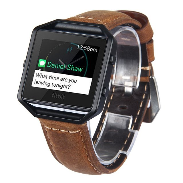 Band For Fitbit Blaze With Frame ,Genuine Leather Watch Bands for Fitbit Blaze Smart Watch (Brown Band + Black Frame)