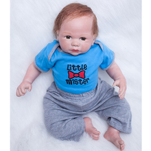 2016 New Style 20 Inch Reborn Baby Boy Lifelike Mohair Newborn Silicone Babies Doll With Acrylic Eyes Kids Birthday Xmas Gift