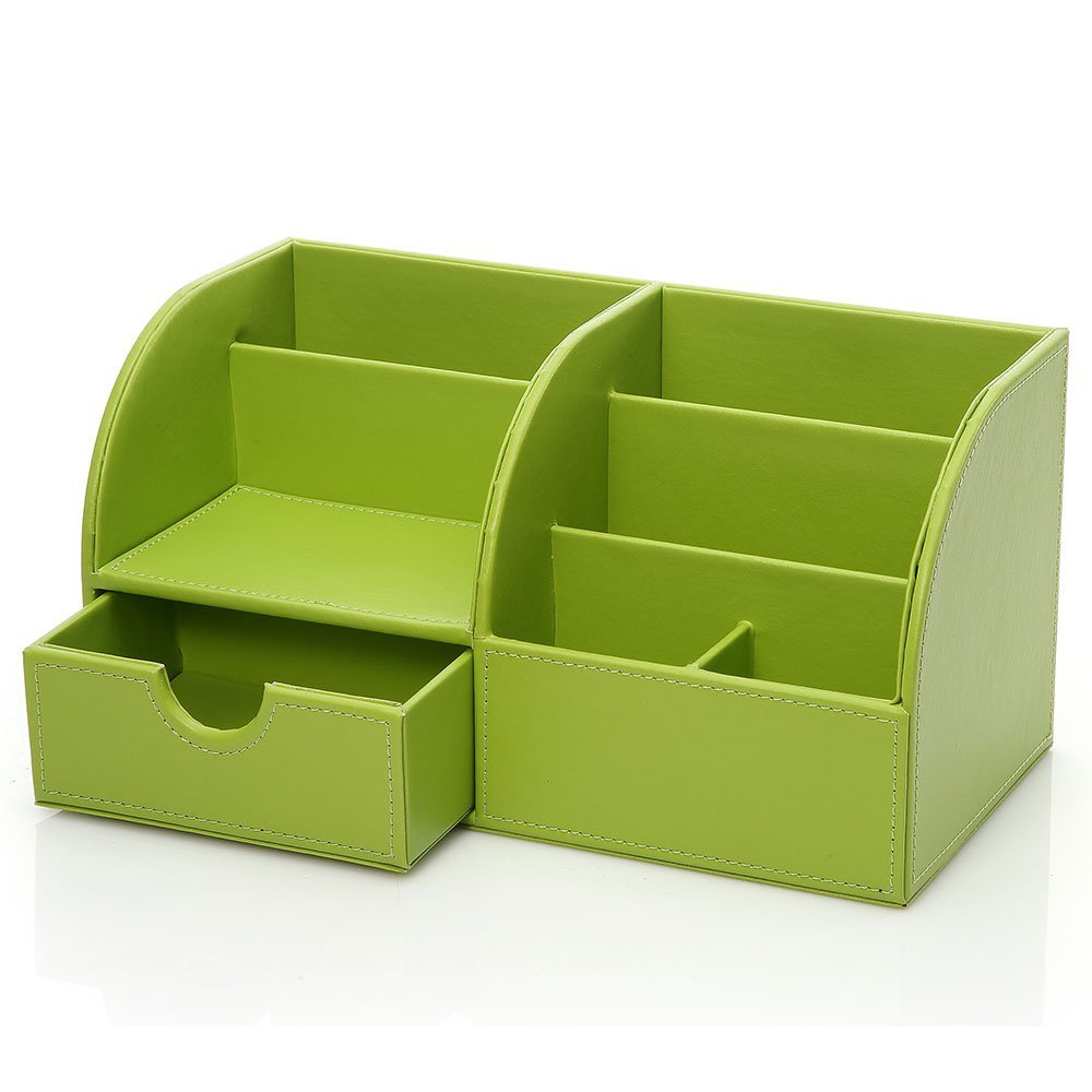 Office Desktop Organizer PU Leather Pen Storage Box Stationery Holder Green