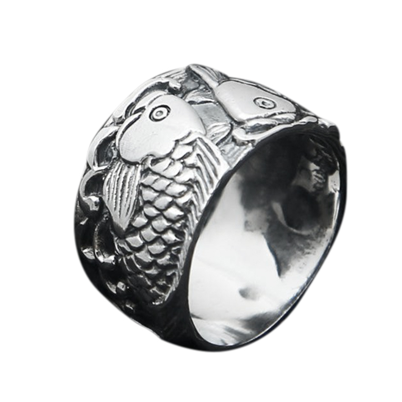 Real 925 Sterling Silver Jewerly Engraved Double Fish Rings For Women and Men Lovers Couples Gift