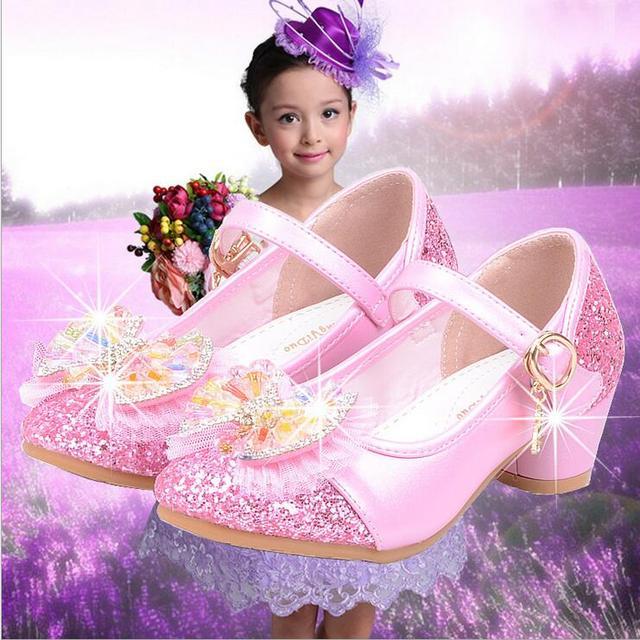Menina moda princesa bowknot shoes meninas sapatos de salto alto que bling único shoes partido desempenho shoes pink & white 26-37 j-778