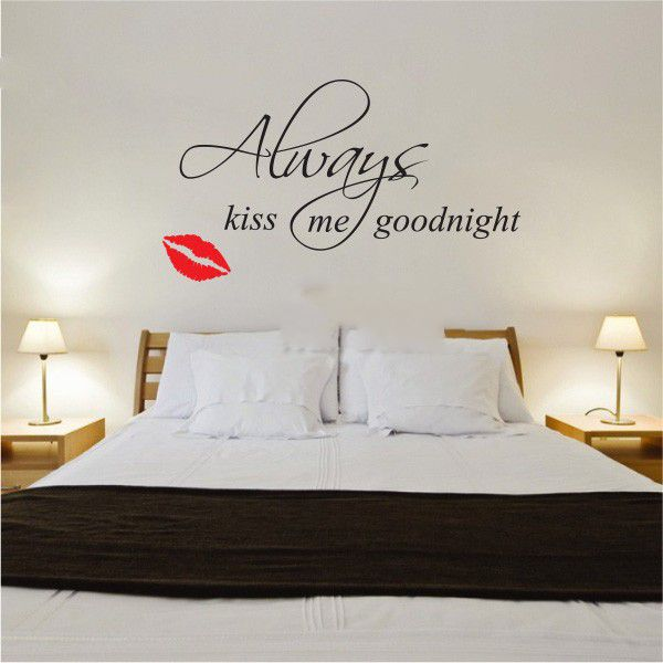 Famous Quote wall sticker  Always kiss me goodnight  vinyl Wall art decal DIY home decoration home decor free shipping-in Wall Stickers from Home ... & Famous Quote wall sticker