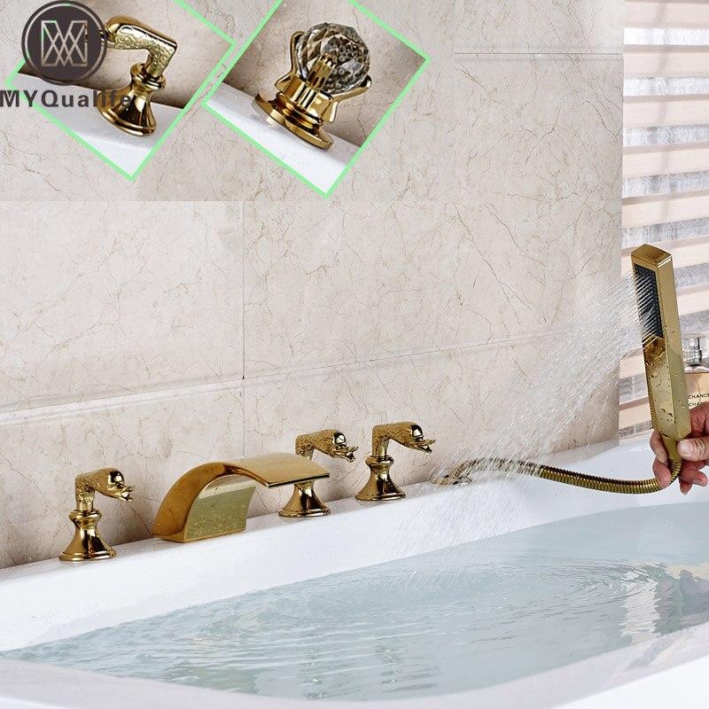 Modern Golden Widespread 5pc Bathtub Faucet Brass Waterfall Tub Sink Mixers with Handshower