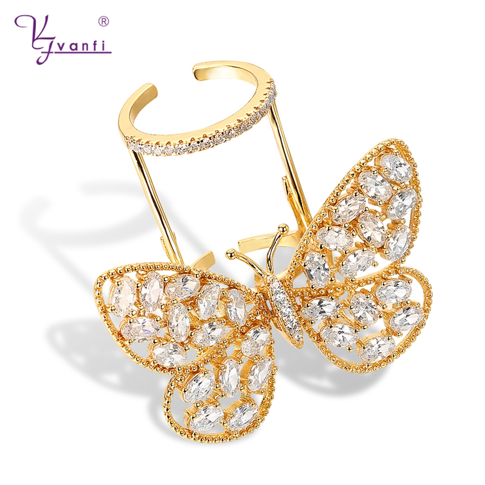Factory Promotions Gold Color Moving Butterfly Action Shape Jewerly ring high quality rings for Women gift free size image