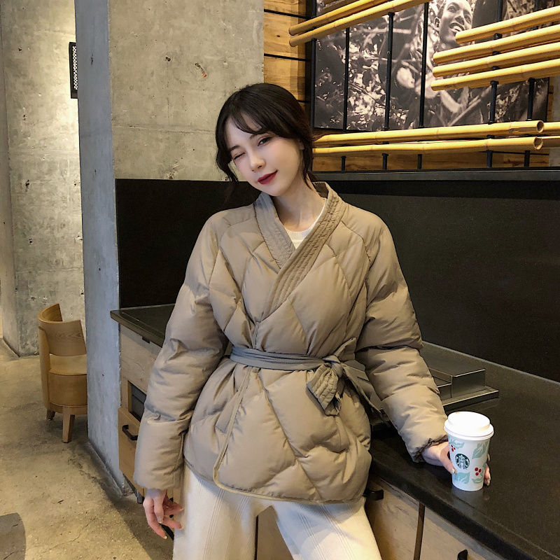 Hzirip 19 New Design Female Women Winter Solid Sashes Coat Thick High Quality Students Outwear Sweet Women Plus Size 2 Colors 6