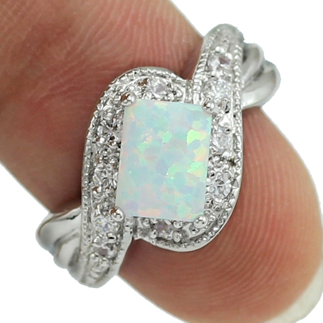 Wholesale Retail Four Claw Inlay 5 x8MM Princess White Fire Opal AAA CZ Rings Si