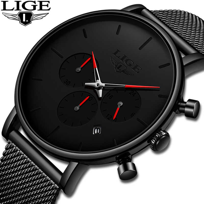 Relojes LIGE Mesh Steel Men Watches Fashion Top Brand Luxury Sport Ultra-Thin Quartz Watch Men Casual Date Waterproof Watch Male