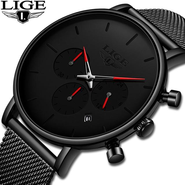 Relojes LIGE maille acier hommes montres de mode haut marque de luxe Sport Ultra mince montre à Quartz hommes décontracté Date étanche montre mâle