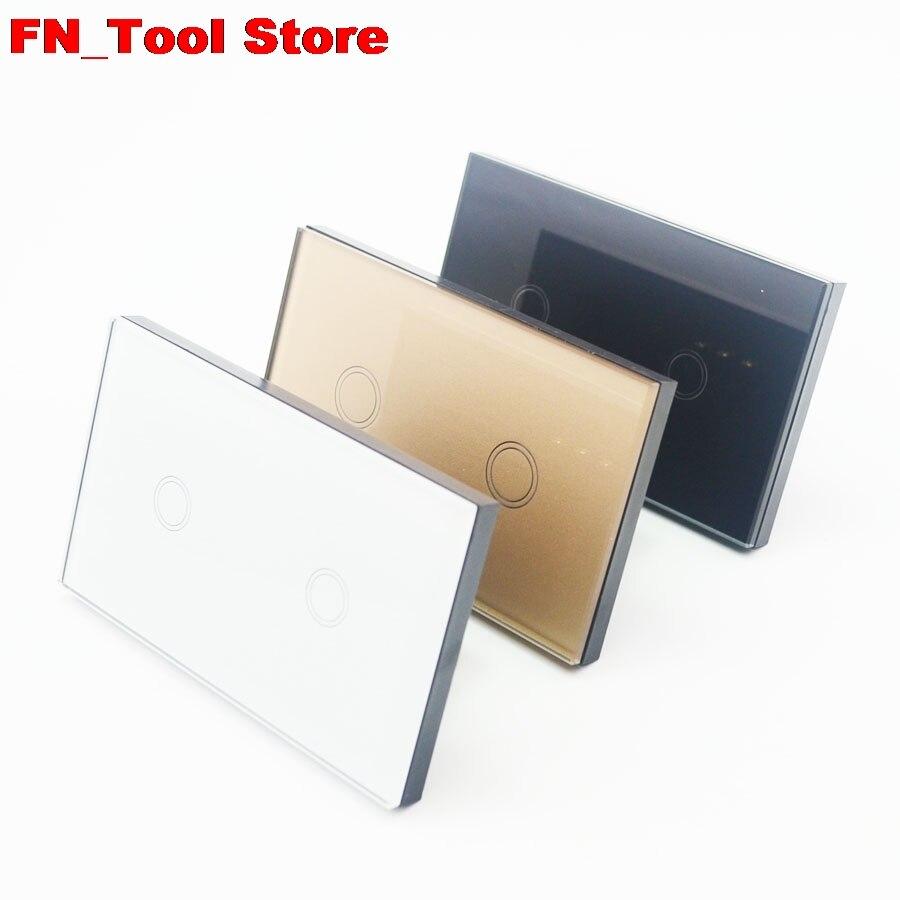 Interrupteur tactile 2 gangs 1 voie US standard panneau de verre cristal simple FireWire interrupteur mural tactile