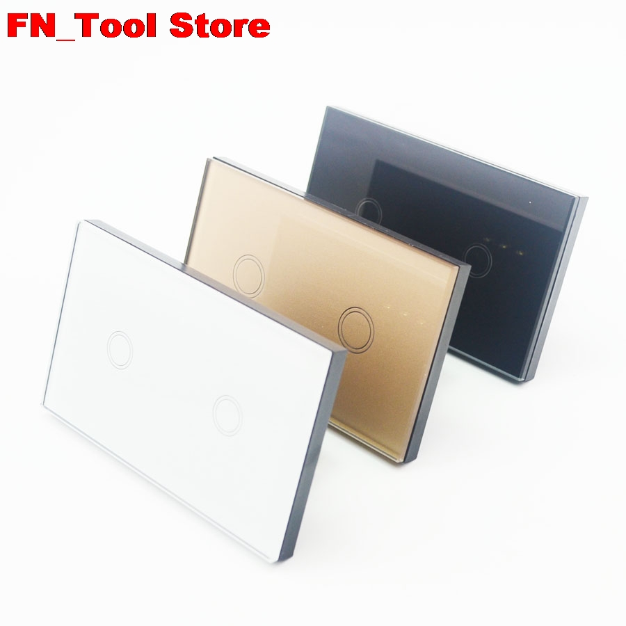 Touch Switch 2 Gang 1 Way US standard Crystal Glass Panel Single FireWire touch wall switch 2017 free shipping smart wall switch crystal glass panel switch us 2 gang remote control touch switch wall light switch for led
