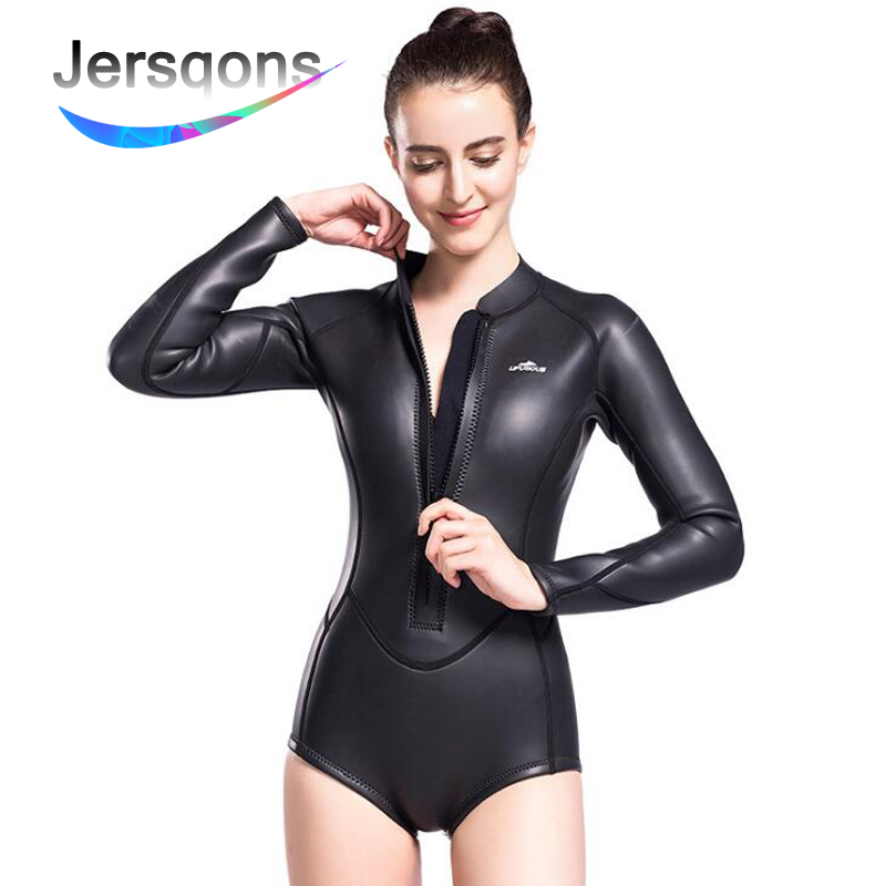 Jersqons 3mm Elastic Slitherskin Women SCS Neoprene Wetsuit Diving Waterproof Jacket Shorts Surfing Snorkeling