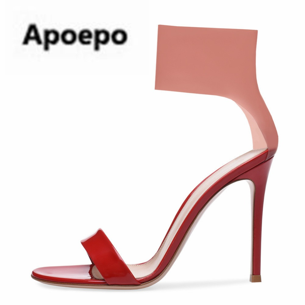 Apoepo brand PVC pink sandals sexy mixed colors peep toe ladies sandals summer gladiator sandals women high heels shoes pumps apoepo brand black luxury diamond sandals women sexy pointed toe string bead ladies shoes summer high heels sandals shoes 2018