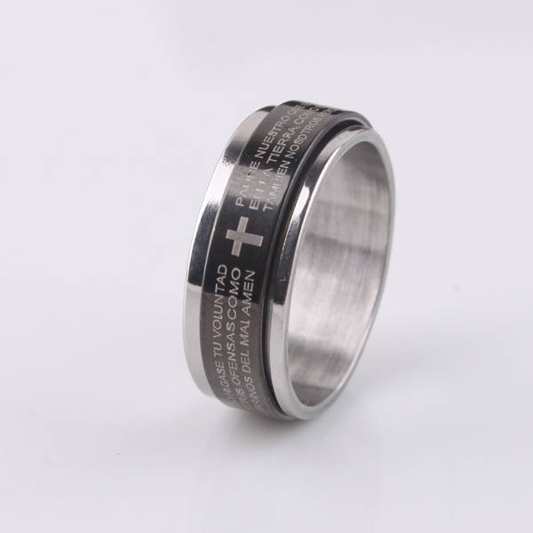 free shipping Black 7mm cross Holy Bible Double layer Rotation 316L Stainless Steel finger rings men jewelry wholesale lots
