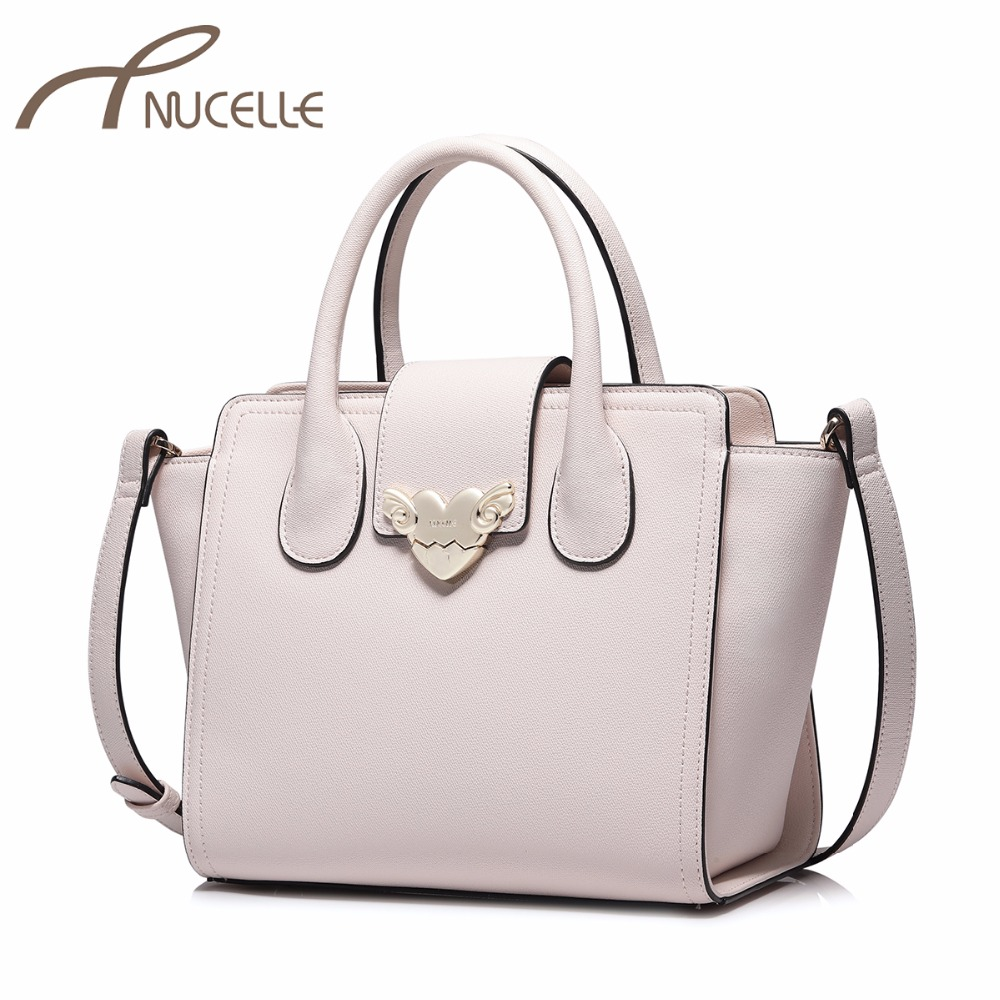 NUCELLE Women's PU Leather Handbag Ladies Fashion Brief Sweet Love Tote Shoulder Purse Female Wing Leisure Brand Messenger Bags
