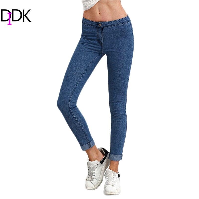 DIDK Women's High Waist Trousers 2017 Skinny Pants Blue Jeans Women Fashion Button Fly High Waist Denim Slim Pants