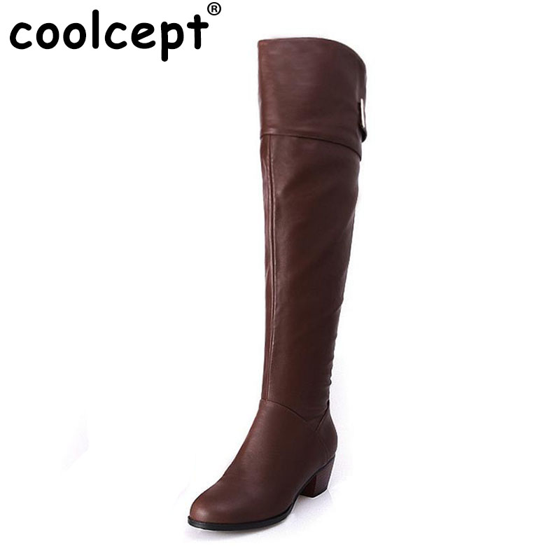 Coolcept Free shipping over knee long high heel boots women snow fashion winter warm boot footwear shoes P10590 EUR size 33-41