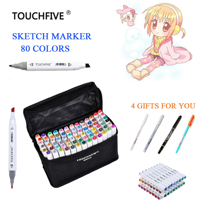 rotuladores TouchFIVE 60/80/168 Colors Art Marker Set Alcohol Based Brush Pen Liner Sketch Markers Drawing Manga Art Supplies 80 colors painting art marker pen alcohol marker pen cartoon graffiti dual headed sketch markers set art supplies black white