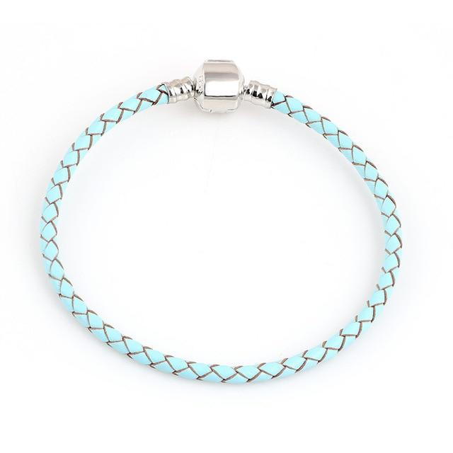 Lato w stylu Acqua niebieska bransoletka ze skóry łańcuch nadające się do Charms bransoletki DIY nadające się do ze stopu szkła europejski koralik z dużym otworem-2040807