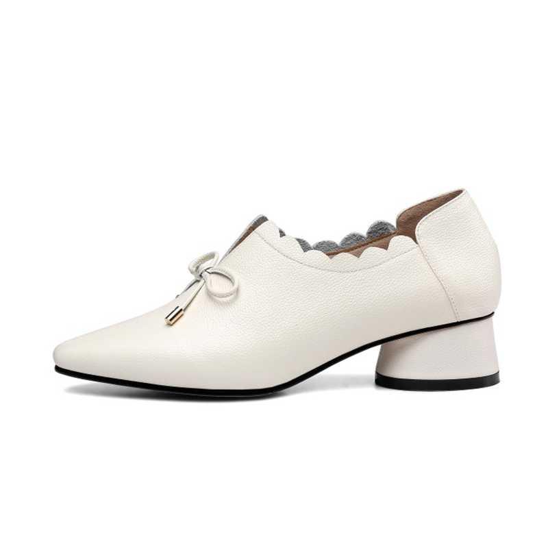 REAVE KEDI Ayakkabı kadın pompaları Med topuklu Yuvarlak ayak hakiki deri Ilkbahar sonbahar ayakkabı Kalın topuk Botas feminino mujer A1394