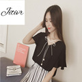 2017 New Summer Women's Chiffon Top  Bow Short Clothing Tassel Tee Black and White Color Fashion For the Lady Loose Clothing