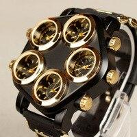 mens sports wristwatch Multiple Time Zone silicone man watches quartz Punk Hip hop Large dial men's watch