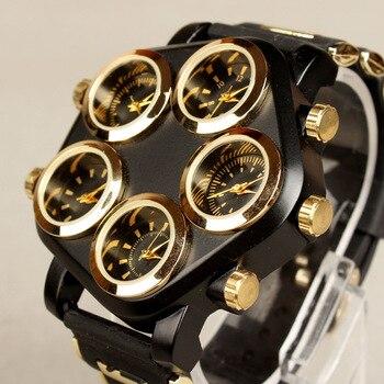 Mens กีฬานาฬิกาข้อมือ FIVE Time Zone ซิลิโคน Man นาฬิกาควอตซ์ Street Punk Hip hop ขนาดใหญ่ Creative หัวรถจักรชายนาฬิกา-ใน นาฬิกาควอตซ์ จาก นาฬิกาข้อมือ บน