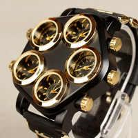 mens sports wristwatch five Time Zone silicone man watches quartz Street Punk Hip hop Large dial creative Locomotive men's watch