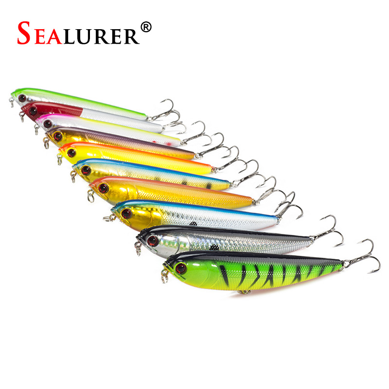 Sealurer Brand 10PCS Topwater Pencil Lure Fishing Bait 12mm 22g Artificial Minnow Hard Lures Baits Fly Fishing Tackle Wobblers wldslure 1pc 54g minnow sea fishing crankbait bass hard bait tuna lures wobbler trolling lure treble hook