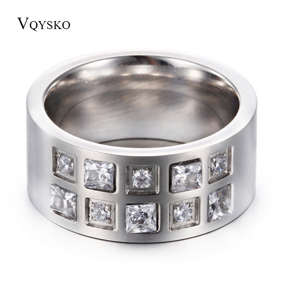 Women Wedding Band 10mm Polished Stainless Steel Ring With Zircon Stones -in Bands