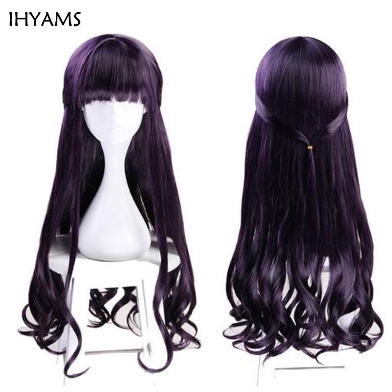 Cardcaptor Sakura CLEAR CARD Daidouji Tomoyo Wig Card Captor 75cm Dark Purple Long Synthetic Hair Curly Cosplay Wigs + Wig Cap