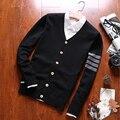 2016 Clásico Polo Prendas de Punto Suéter de las Rebecas de Otoño Invierno Hombre Moda De Manga Larga Delgada Coat Plus Size M-3XL