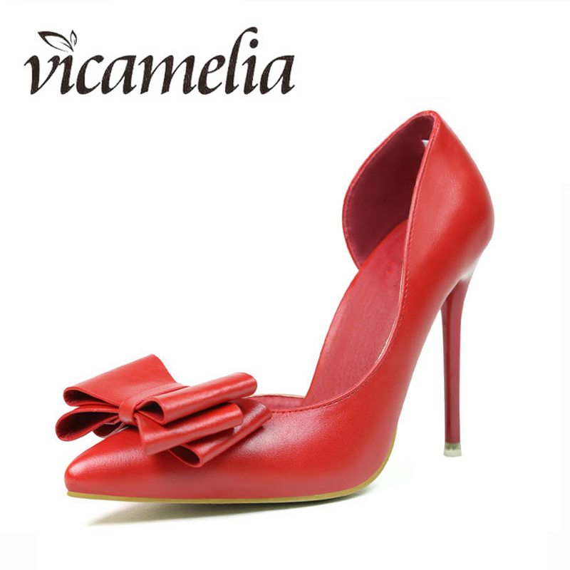 Vicamelia <font><b>Sexy</b></font> Women High Heels Dress Shoes Big Bowknot Ladies Shoes Womens Shallow Thin Heels Party Fashion Shoe <font><b>212</b></font> image