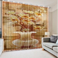 Classic Style 3D Window Curtain vase Stereo 3D Sheer Curtains For Living Room Bedroom Polyester Door Kitchen Curtain
