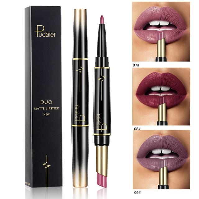 Marca Pudaier doble acabado mate pintalabios a prueba de agua pintalabios de larga duración Nude labios rojos oscuros delineador lápiz labial maquillaje cosméticos