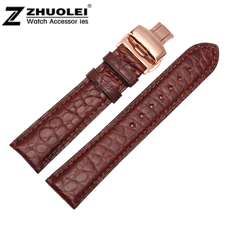 купить 18mm 19mm 20mm 21mm 22mm Size Available Brown Genuine Alligator Leather Watch Strap Band Rose Gold Steel Clasp Buckle по цене 2923.89 рублей