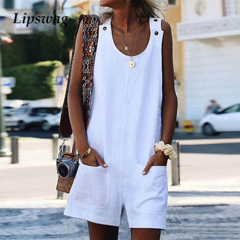 Lipswag Jumpsuit Rompers Overalls Linen Casual Summer Women Sreetwear Sleeveless Solid