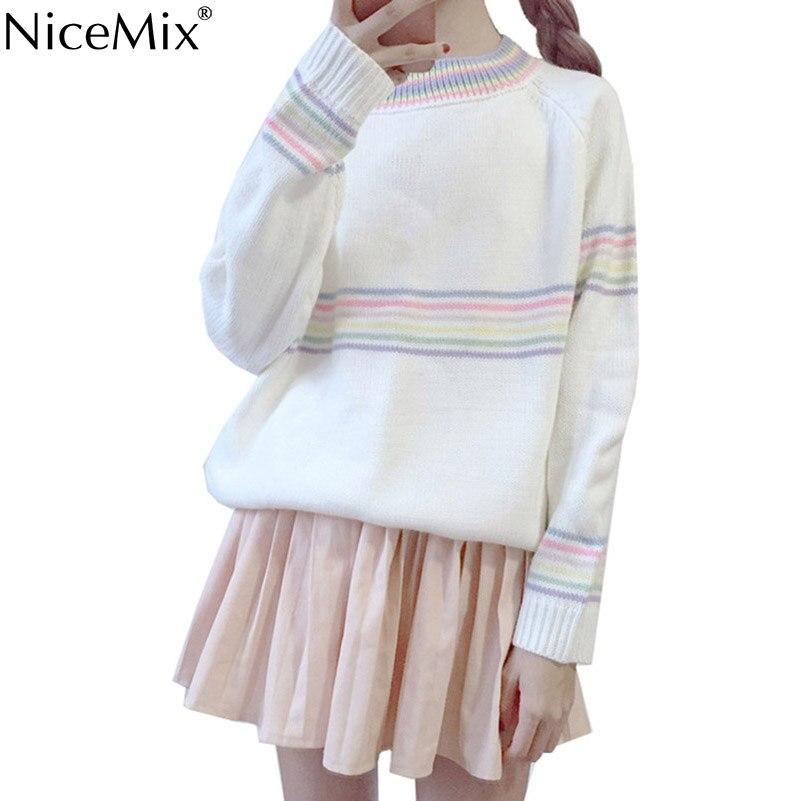 NiceMix 2017 Autumn Winter Kawaii Sweater Women Pullovers Striped Loose Knitted Jumper Elegant Sweet Sweaters