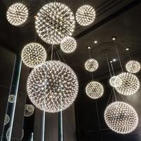 Postmodern Spark Pendnt Light Designer'S Light Living Room Dining Metal Lamps Firework Luminaire Silver Rose Gold Luster