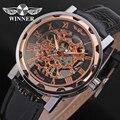 Vencedor relógio mecânico relógio para homens pulseira de couro preto frete grátis WRG8008M3T2