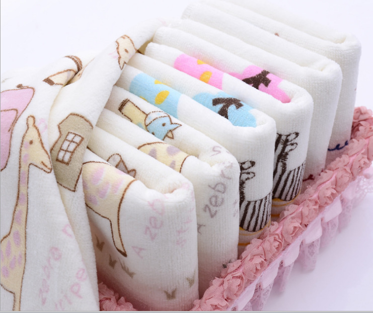 UNIKIDS Children Washcloth Baby Feeding Baby Face Towels Washers Hand Cute Cartoon Wipe Wash Cloth Cotton