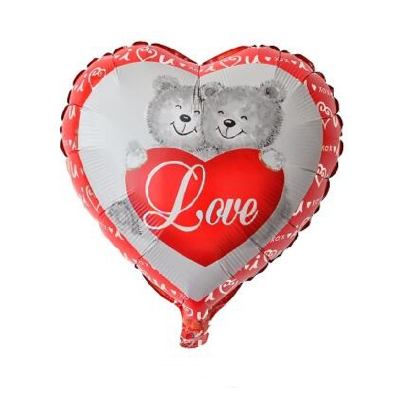 10 unids 18 pulgadas amor del Oso de la forma del corazón globos decoración  del partido globos de aluminio globo partido suministros juguetes 45 45 cm 2b130a086d4ee