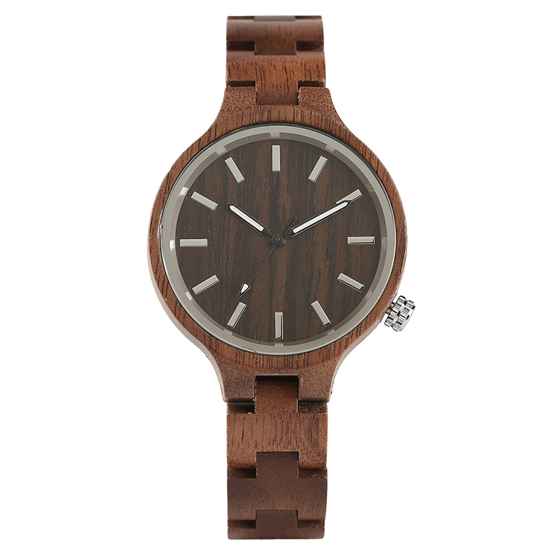 Trendy Ladies Walnut Quartz Watches 15 mm Tiny Full Wood Band Simple Striated Pattern Bracelet Unique Present for Girlfriend trendy tiny bell bracelet for women