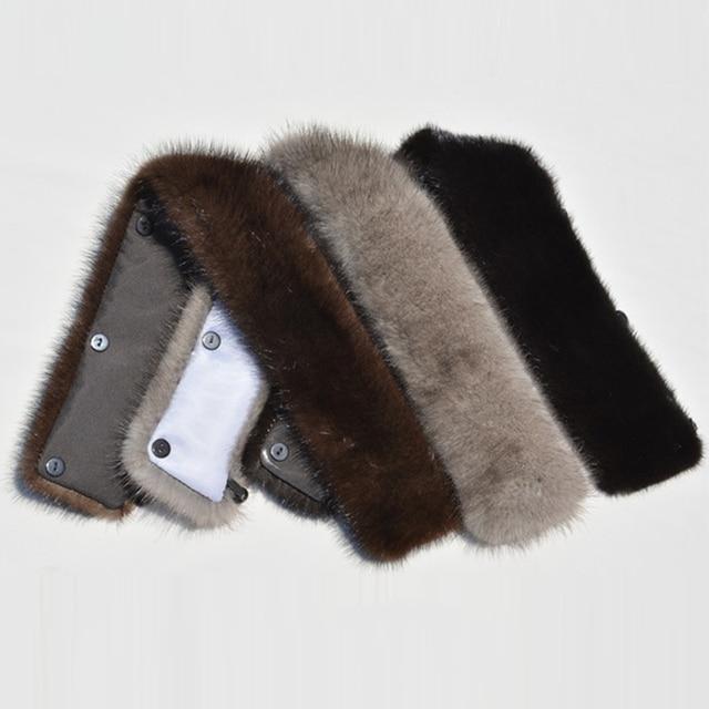 Natural Mink Fur Collar Black Brown Gray for Men Real Mink Fur Collar for Jacket Coat Winter 2017 Real Fur Scarf Collar Winter