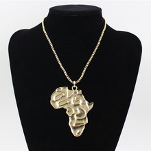 лучшая цена Wholesale Gold Color Hiphop Africa Map Pendant Necklace Gift African Punk Design Chain Collar Necklace Jewelry For Men Women