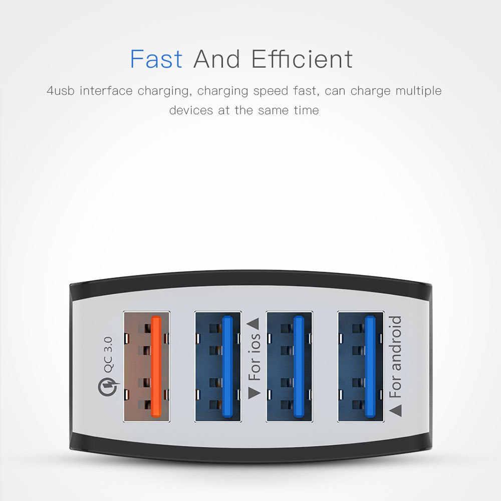 4 USB Charger Mobil Pengisian Cepat 3.0 Mobil-Charger Ponsel QC 3.0 Usb Charger Mobil Adaptor Pengisian Cepat untuk Samsung Huawei Vivo
