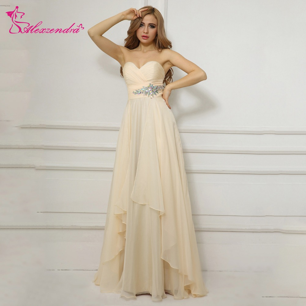 Alexzendra Champagne Beaded Chiffon A Line   Prom     Dresses   Sweetheart Long Evening Gowns Party   Dress